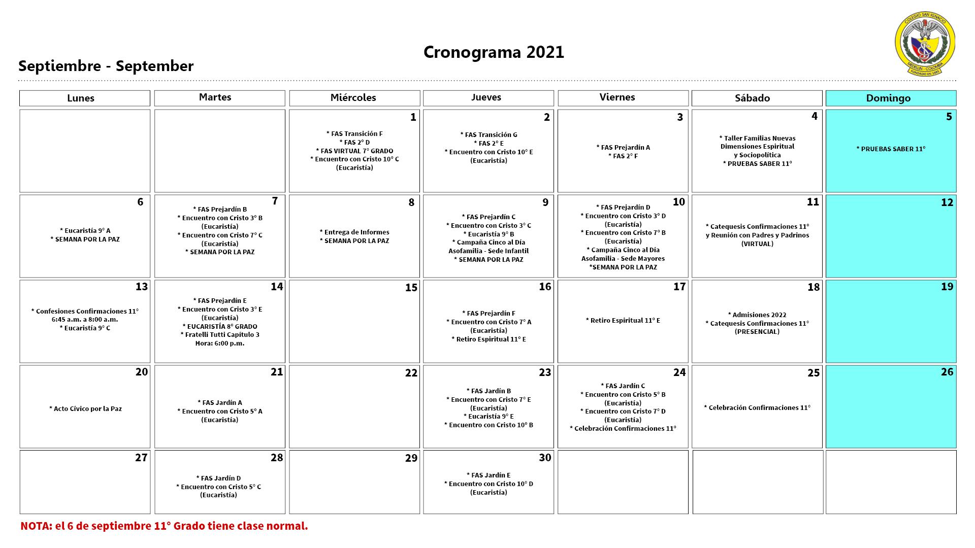 Cronograma septiembre 2021